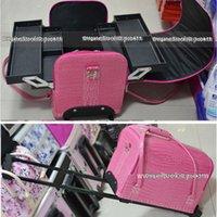 beauty trolleys - Fashion PU beauty trolley case makeup box professional cosmetics bag storage make up trousse de maquillage bolsa neceser maquillaje de viaje