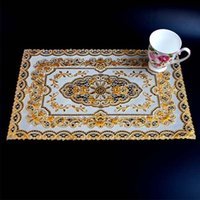 pvc table cloth - 4 Pieces set Good PVC Rectangle Tableware Placement Mat Pats Waterproof Table Cloth Table Decoration in Gold