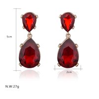 adorn gems - Retro Fashion Water Glass Gem Earrings Chandelier Earring Small Adorn Article Contracted Fashion Water Droplets Shape Earrings