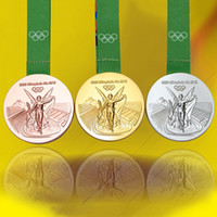 Wholesale 1 set The Rio Olympic games Championship replica gold silver bronze medal badge collectible art coin badge with Ribbon
