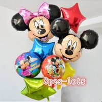Wholesale The new aluminum helium balloons birthday party baby Hundred Days Mickey Minnie Mickey Mouse head foil balloons
