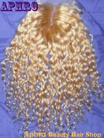 Cheap Hot Sale Brazilian Human Hair Curly Silk Base Lace Closure 130% density 4*4 inches Original Hair Curly Platinum Blonde Top Closure Sale