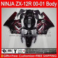 al por mayor zx12 carenados kawasaki-8gifts carrocería rojo fuego para Kawasaki ZX12R NINJA 00 01 ZX12 R Cuerpo 44NO8 ZX-12R ZX 12 R Kit negro 00-01 ZX 12R 2000 2001 carenado brillo
