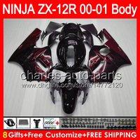 achat en gros de zx12 carénages kawasaki-8gifts Carrosseries flammes rouges Pour KAWASAKI NINJA ZX12R 00 01 ZX12 R Body 44NO8 ZX-12R ZX 12 R 00-01 ZX 12R 2000 2001 Carénage brillant Kit noir