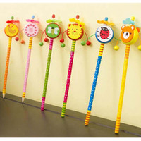 Wholesale 10pcs Creative Wooden Cute Cartoon Pencils Children Stationery Pencil Christmas Gift Kids Study Writing Drawing Material Escolar