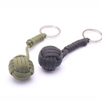 Wholesale Security protection B039 Black Monkey Fist Steel Ball Bearing Self Defense Lanyard Survival Key Chain