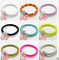 Wholesale Color TOP Quality PU Leather Charm Bracelet Handmade Shamballa Bracelet With Magnetic Clasp