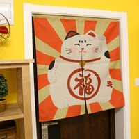 Wholesale Japan style happiness cat printed cotton and linen door curtain left and right biparting open Fengshui screen cloth curtain