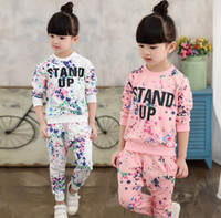 big kids clothing - 2016 Autumn Winter Big Girl Outfits Set Letter Print Scrawl Shirt Pants Outfit Children Leisure Kids Clothing Set K7936