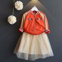 animal tiered skirt - Autumn Korean Girl Suit Outfits embroidery Jacket Baseball uniform Tutu Skirts Tiered Skirts Children Outfit Kids Coat Lovekiss C29392