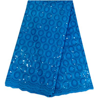 Wholesale Most popular wedding dresses in royal blue color high quality african swiss voile lace fabric with sequins