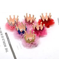 Wholesale Baby Girls Cute Crown Design Hairpins Tiaras Barrettes Sticks Sweet Baby Sequins Hair Accessories Western Headband
