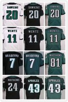 24 7 - 2016 NEW Draft Bradford Carson Wentz Brian Dawkins Ryan Mathews Sproles matthews white green black Elite football Jerseys