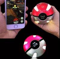 Wholesale Poke mon Go Power Bank mAh Poke Ball Shape USB LED External Battery Charger Phone Charger OOA404