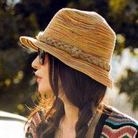 Corea Moda Sombreros de verano para las mujeres plegable Vintage Beach visera de Sun del sombrero Señoras Fedoras Panamá Floppy Bohemia paja Casquillos MZ0709