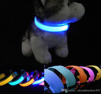 Wholesale LED Nylon Pet Dog Collars Night Safety LED Light up Flashing Glow In The Dark Electric LED Pets Cat Dog Collar CM Width S M L XL