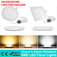 Wholesale Embedded LED Panel Light W W W W W Factory Price Ultrathin Recessed Downlight SMD Round and Square Ceiling Lights Indoor Lighting