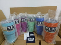 Wholesale 6 Color oz YETI Rambler Tumbler Cup Purple Pink Blue Light Blue Orange Light Green Bilayer Vacuum Insulation Cup With Logo