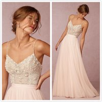 beach stones - 2016 Sexy New Spaghetti Straps Tulle A Line Wedding Dresses Beaded Stone Top Summer Beach Bridal Wedding Dresses
