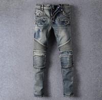 big sale clothing - Balmain jeans Balmai high quality jeans men big sale autumn clothes new famous brand straight slim fit blue Mens jeans plus size