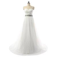 Wholesale Esaer in stock cheap Wedding Dresses with crystals sweetheart a line sweep train bridal gowns vintage wedding dress