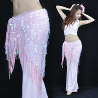 Cheap Belly Dance Costume Tribal Triangle Sequins Tassel Hip Scarf Skirt Belt 12 Color