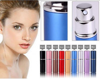 Wholesale Portable Perfume Bottle ML Aluminium Anodized Compact Perfume Atomiser fragrance glass scent bottle Reusable perfume bottles custom LOGO