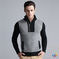 acrylic computer stand - 2016 Fashion Autumn Men s Stitching Clothing Long sleeve stand collar Designer Sweater Cotton Knitwear For Man Warm Pullovers