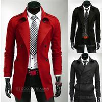 Wholesale Men s Fashion Simple Solid Long Windbreaker Men s Slim Fit Trench Coat Casual Outwear Jackets Winter Warm Wind Overcoat