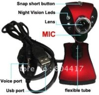 Wholesale and Retail New Red USB M LED Webcam Web Cam Camera With Mic for Desktop PC Laptop