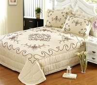 beige quilted bedspread - 3pcs Europe x250 quot Cotton Bedspread Cute Beige Cluster Luxury Comforter Bedding set Full Quilted Bedcover Pillowcase