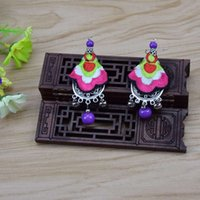act hook - Folk embroidery miao silver earrings hanging bead Bohemia ear hook embroidery cloth art act the role ofing is tasted