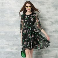 beautiful dresses - Women Summer Style Newest Dresses Beautiful Black Three quarter Sleeve Floral Print Round Neck Chiffon Knee Length Dress