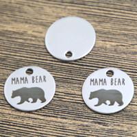 bear charms silver - 10pcs mama bear heart charm silver tone message charm pendant mm