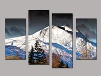 4 PCS Холст Стена Картины Снежные горы Свадебные украшения Декоративные картины маслом на холсте для спальни без рамки