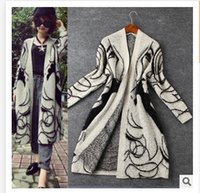 beauty free sheers - 2016 Europe new winter hair loose pattern beauty long cardigan shawl sweater knit coat