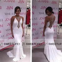 Wholesale Sexy Mermaid White Celebrity Dresses Sheer Back Illusion Jewel Neck Sweep Train Prom Evening Gowns Popular Fiesta Pageant Dresses