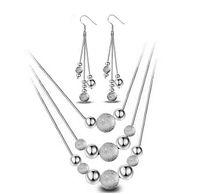 Ensemble de bijoux à long collier de mariage nuptiale / boucles d'oreilles ensemble avec beaucoup de perles de boule 925 ensembles de bijoux en argent sterling Mutilayer