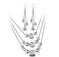 Wholesale Long Tassel Jewelry Sets Wedding Bridal Necklace Earrings Set With Many Ball Beads Sterling Silver Mutilayer Jewelry Sets