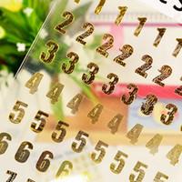 Craft bloc-notes France-Haute qualité 10 feuilles Nombre Stickers or / argent Couleur 0 à 9 numéros Craft Scrapbooking Stickers Notepads Autocollants Matériel Escolar