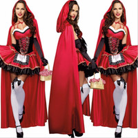 adult little red riding hood - high quality Sexy Little Red Riding Hood Costume Party adult Small RedCap cosplay Dress New clothing Halloween for Women