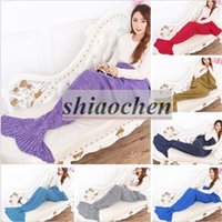 Wholesale Adult Mermaid Tail Sleeping Bags Mermaid Blankets Handmade Crochet Blankets Mermaid Tail Cocoon Mattress Knit Sofa Blankets A1234 p