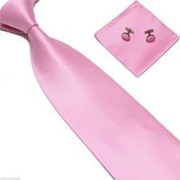 mens tie handkerchief - Woven Silk Hand Made Tie Cufflinks and Handkerchief Gift Set Hanky Necktie Mens Silk Ties Pocket Square Cravat Pink Ties
