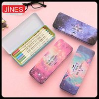 Wholesale New set Pen Pencil Cases Colorful Star Pattern Cute Metal Pencil Box For Kids Gift School Office