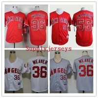 Cheap Cheap Angels Baseball Jerseys Men #36 WEAVER 56 CALHOUN Grey White Red stitched Athletic jersey Mix Order High Quality Free Shipping
