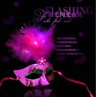 Wholesale Colorful Luminescent Powder Princess Mask Lovely Hair Mask LEG Cute Feather Masks Masquerade Mask Noble Gorgeous Halloween Party Supplies