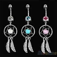 Wholesale Crystal Gem Dream Catcher Feather Chain Navel Dangle Belly Barbell Button Bar Ring Body Art Bar I5