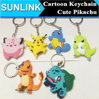 Wholesale Cute Cartoon Pocket Monster Anima Keychain Poke Silicone Pendant Pikachu Poke Ball Keychain Double Sided Design Key Chain Kids Gifts