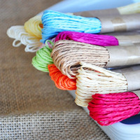 Wholesale 30m pc Colored Round Raffia Paper Rope Split String Packaging Twine Rope For Cookie Cake Gift Bag Box Packing Decor HY880