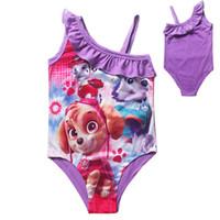 Wholesale 4 Designs Kids Cartoon Patrol Dog Girls TUTU Swimwear Baby Lace One Pieces Dog Paw Swimsuit Little Girls Beachwear LA238